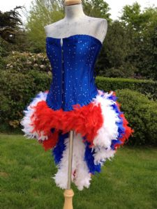 Olympics fancy dress, feather dress, olympics costume, mardi gras showgirl costume
